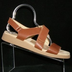 Rockport brown leather hook and loop sandals 9.5W